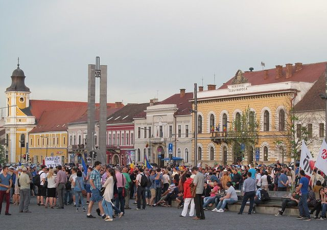 Protesty antyrządowe w Cluj w Rumunii