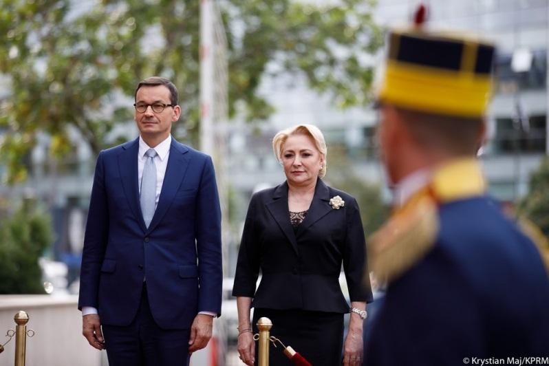 Premierzy Polski i Rumunii Mateusz Morawiecki i Viorika Dancila w Bukareszcie, źródło Krystian Maj KPRM