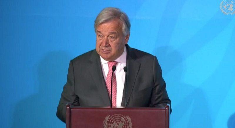 Sekretarz generalny ONZ Antonio Guterrez na klimatycznym szczycie ONZ w Nowym Jorku, źródło twitter@UNFCCC