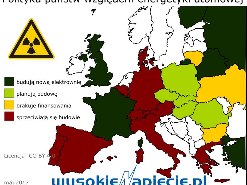 Elektrownie atomowe w Europie, grafika: WysokieNapięcie.pl