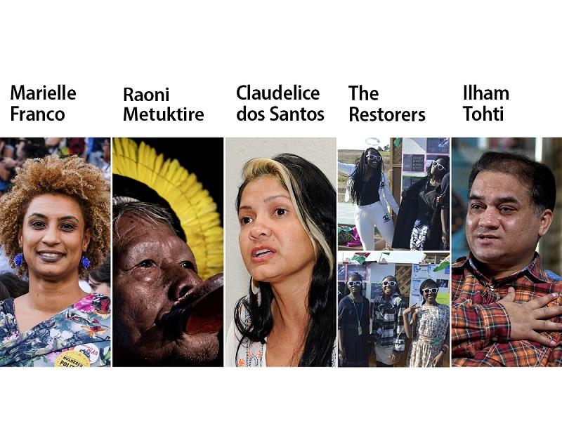 Finaliści nagrody PE im. Sacharowa 2019, źródło za PE (© AP ImagesEllis RUA, © Jeff PachoudAFP, © Senado Federal do Brasil, © Restorers,© AP ImagesAndy WONG)