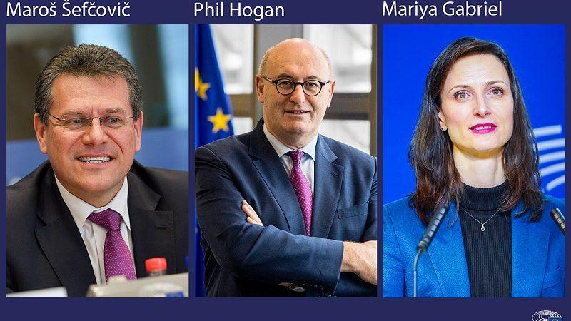 Pierwszy dzień przesłuchań w PE -Maroš Šefčovič, Phil Hogan i Mariya Gabriel, źródło PE