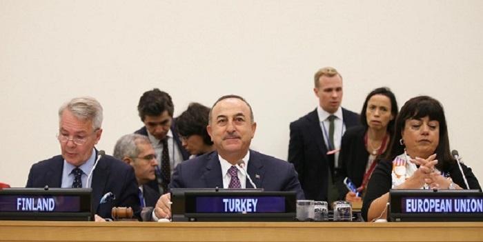 Szef tureckiej dyplomacji Mevlüt Çavuşoğlu w ONZ, źródło MSZ Turcji