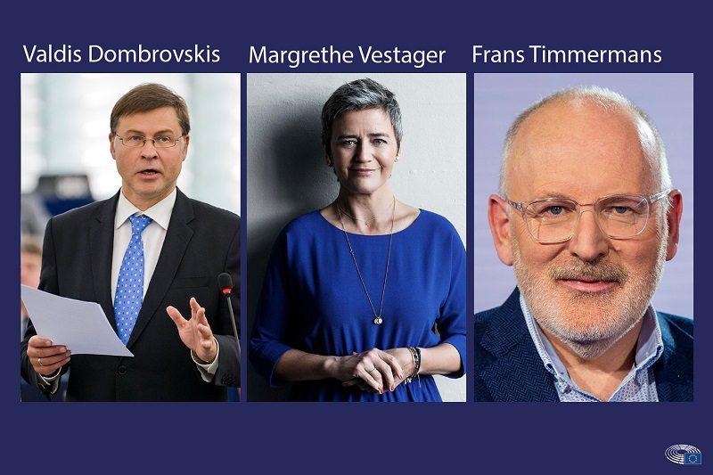 Valdis Dombrovskis, Margarethe Vestager i Frans Timmermans - przesłuchanie w PE 2019, źródło PE