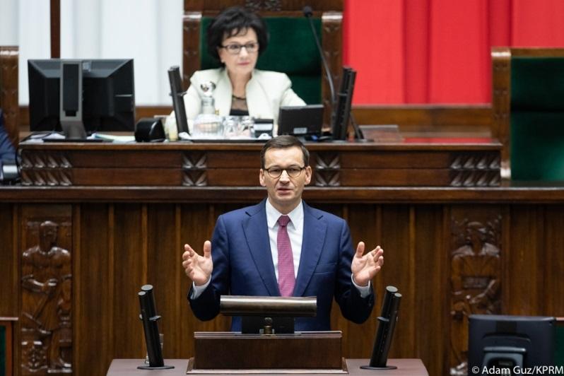 Premier Mateusz Morawiecki w Sejmie, źródło Adam Guz KPRM
