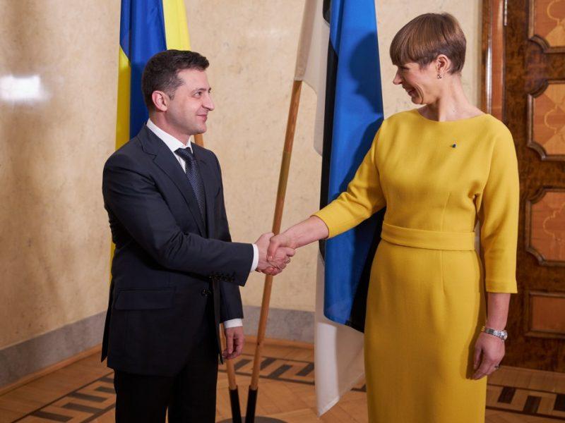 Prezydenci Ukrainy i Estonii Wołodymyr Zełenski i Kersti Kaljulaid w Tallinie, źródło president.gov.ua