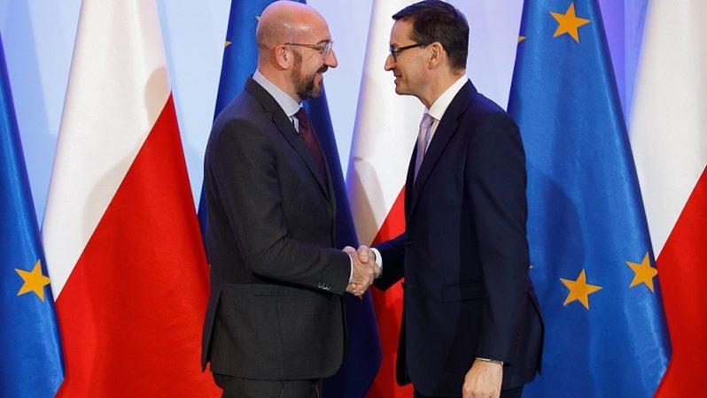 Przewodniczący elekt Rady Europejskiej Charles Michel i premier Mateusz Morawiecki, źródło Krystian Maj KPRM
