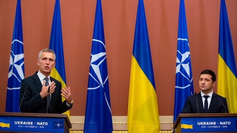 Szef NATO Jens Stoltenberg i prezydent Ukrainy Wołodymyr Zełenski, konf.pras. w Kijowie, źródło president.gov.ua