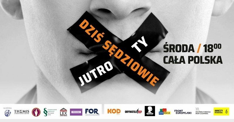 Informacja o ogólnopolskim proteście w obronie sędziów, źródło iustitia