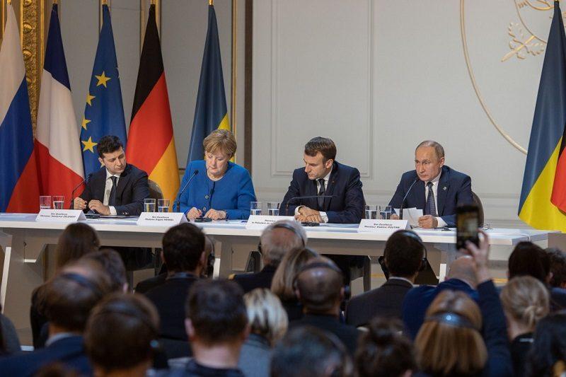 Konferencja prasowa po spotkaniu na szczycie normandzkiej czwórki w Paryżu, źródło president.gov.ua
