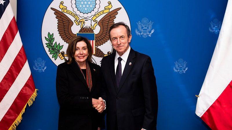 Przewodnicząca Izby Reprezentatów USA Nancy Pelosi i marszałek Senatu Tomasz Grodzki, źródło facebook Tomasz Grodzki