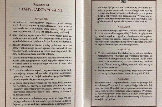 Konstytucja RP strony nt. stanu nadzwyczajnego, źródło twitter rozmowyoRP