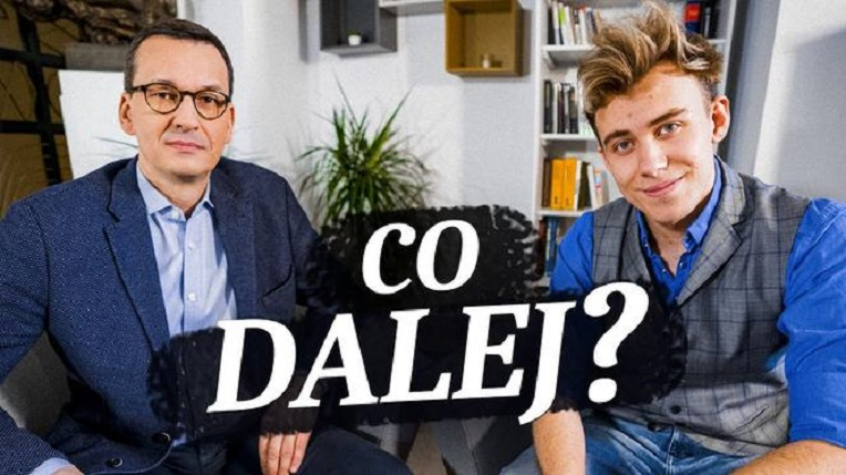 Premier Mateusz Morawiecki i youtuber Blowek, źródło youtube za se