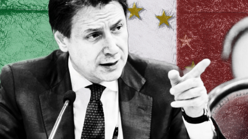 Giuseppe Conte, premier Włoch. Opracowanie graficzne - EURACTIV.pl. Wszelkie prawa zastrzeżone