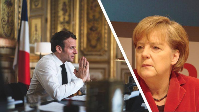 Kanclerz Niemiec Angela Merkel i Prezydent Francji Emmanuel Macron, fot. Facebook Emmanuela Macrona oraz Savas Savidis [Flickr]. Opracowanie graficzne: EURACTIV.pl