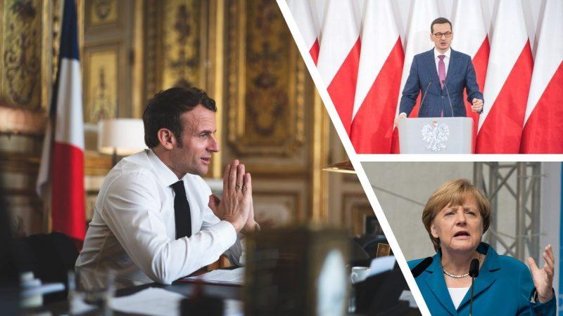 Prezydent Francji Emmanuel Macron, kanclerz Niemiec Angela Merkel i Premier Mateusz Morawiecki, opracowanie graficzne: EURACTIV.pl