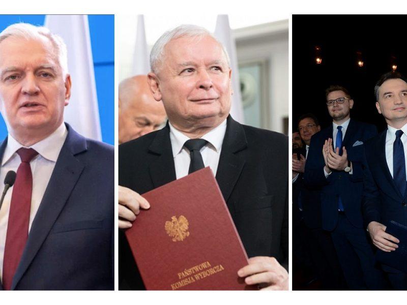 Prezes PiS Jarosław Kaczyński, prezes Porozumienia Jarosław Gowin i minister sprawiedliwości Zbigniew Ziobro, fot. Facebook or pis.org.pl. Opracowanie graficzne: EURACTIV.pl