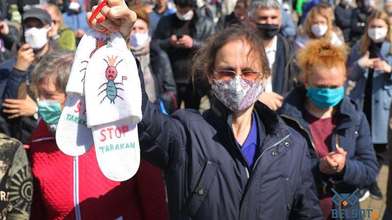 Demonstracja przeciwników Łukaszenki, źródło Belsat.eu
