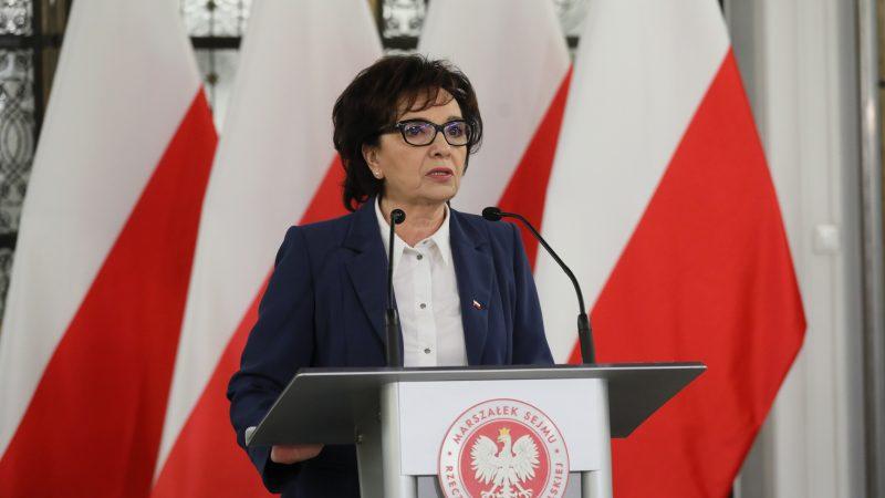 Marszałek Sejmu Elżbieta Witek ogłasza datę wyborów prezydenckich na 28 czerwca, fot. Sejm RP [Twitter]