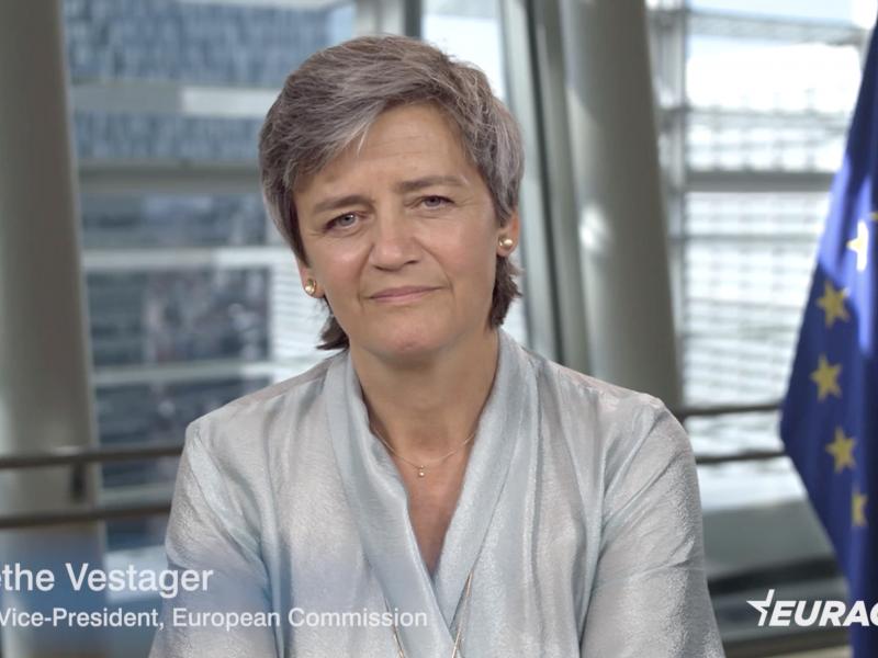 Margrethe Vestager - wywiad EURACTIV.pl. Kadr nagrania wideo.