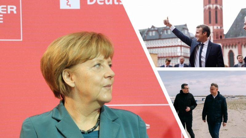 Premier Mateusz Morawiecki, prezydent Andrzej Duda, prezydent Francji Emmanuel Macron i kanclerz Niemiec Angela Merkel. fot. Flickr, @Mateusz Morawiecki [Facebook], @Emmanuel Macron [Facebook]