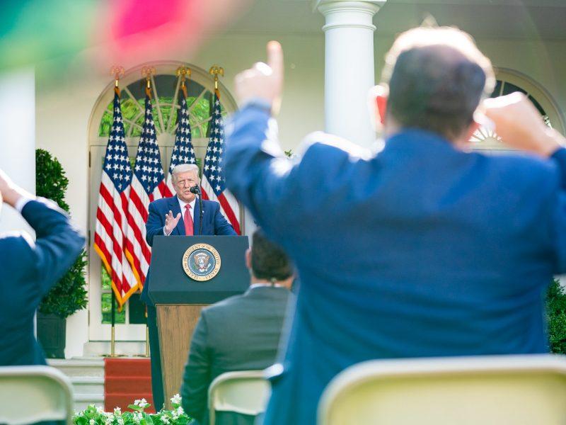 Konferencja prasowa prezydenta USA Donalda Trumpa w Ogrodzie Różanym w Białym Domu - wtorek 14 lipca 2020 r.