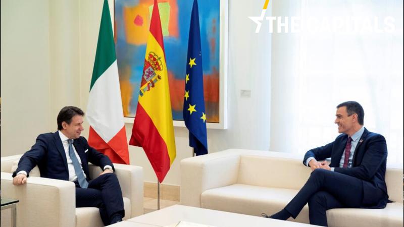 Premier Włoch Giuseppe Conte (na zdj. z lewej) powiedział że Hiszpania i Włochy nie apelują o szybkie zatwierdzenie Funduszu Odbudowy tylko w swoim interesie, ale również w interesie całej Unii Europejskiej.