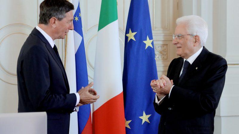 Prezydent Słowenii Borut Pahor i prezydent Włoch Sergio Mattarella w słoweńskim Narodnym Domu w Trieście, 13 lipca 2020 r. [Twitter, @BorutPahor]