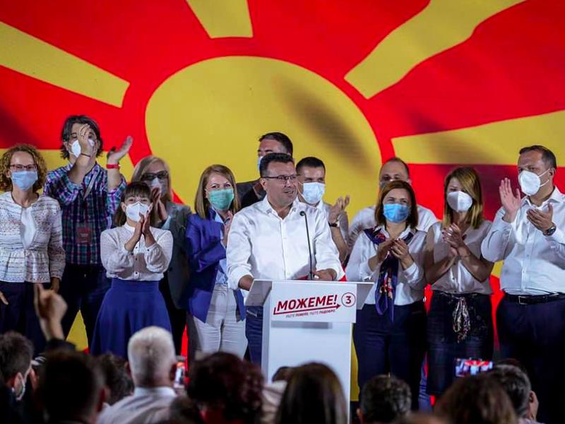 Premier Macedonii Północnej Zoran Zaew w swoim sztabie wyborczym po zakończeniu głosowania, źródło: Facebook/Zoran Zaev/@zaevzoran
