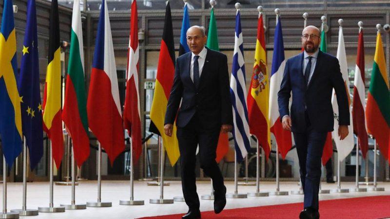 Premier Słowenii Janez Jansa i przewodniczący Rady Europejskiej Charles Michel, fot. @Charles Michel [Facebook]