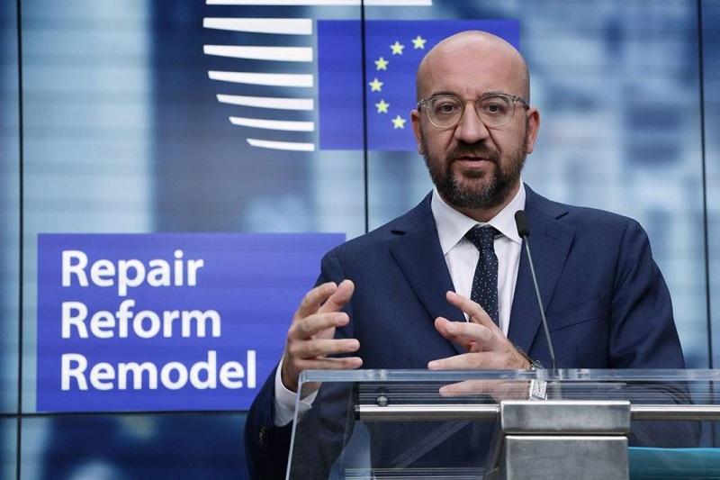 Przewodniczący Rady Europejskiej Charles Michel przedstawia propozycję budżetu UE 2021-27 i pakietu odbudowy, źródło consilium