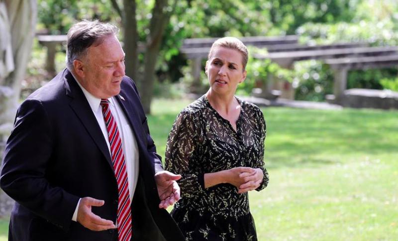 Sekretarz stanu USA Mike Pompeo i premier Danii Mette Frederiksen, źródło: Facebook/Mette Frederiksen/@mettefrederiksen.dk