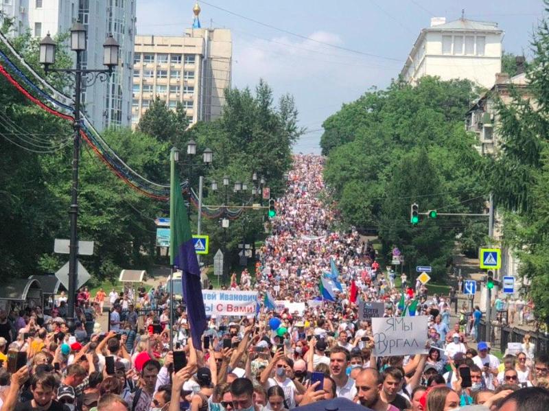Protest w Chabarowsku, źródło: Wikipedia/Штаб Навального в Хабаровске (CC0 1.0)