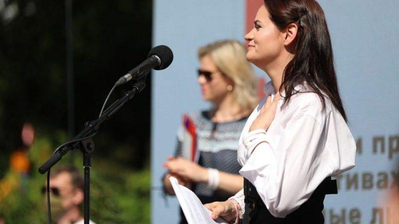Kandydatka na prezydenta Białorusi Swiatłana Cichanouska podczas wiecu wyborczego w Baranowiczach, 2 sierpnia 2020 r. [Facebook, Страна Для Жизни, @strana888]