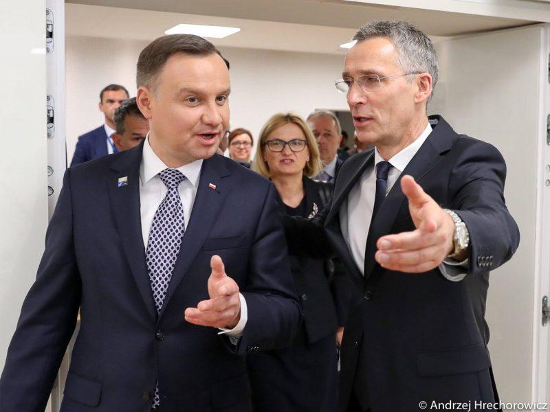 Sekretarz generalny NATO Jens Stoltenberg i prezydent Polski Andrzej Duda, fot. Andrzej Hrechorowicz, KPRP [Facebook, @andrzejduda]