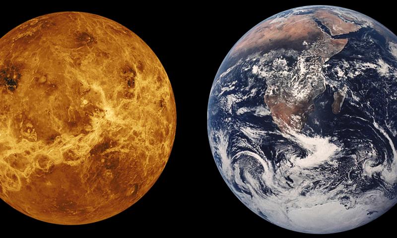 Porównanie rozmiarów i powierzchni Wenus i Ziemi, źródło: pixabay/WikiImages