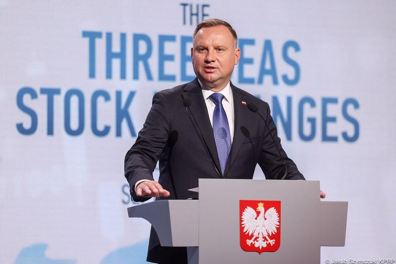 Prezydent Andrzej Duda na spotkaniu szefów giełd państw Trójmorza w Krakowie, źródło Jakub Szymczuk KPRP