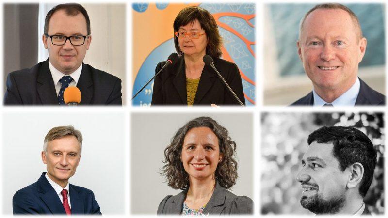 U góry od lewej: Adam Bodnar, Irena Lipowicz, Michael o'Flaherty. Na dole od lewej: Marek Prawda, Debbie Kohner, Mirosław Wróblewski. Opracowanie: EURACTIV.pl