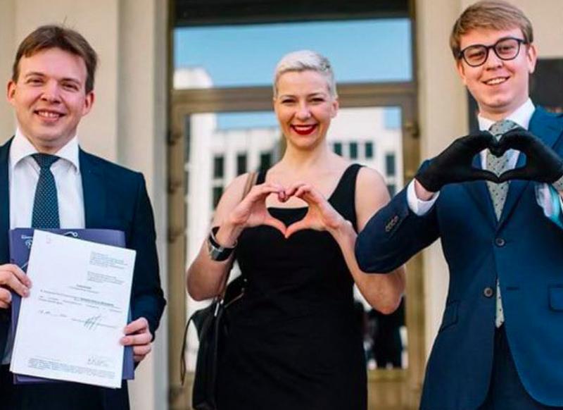 (Od lewej) Maksym Znak, Maryja Kalesnikawa i Ilja Salej, źródło: Twitter/Franak Viačorka (@franakviacorka)