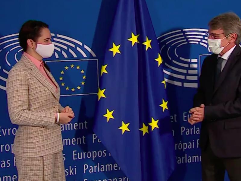 Swiatłana Cichanouska i przewodniczący PE David Sassoli, źródło: EC Audiovisual Service, European Union 2020