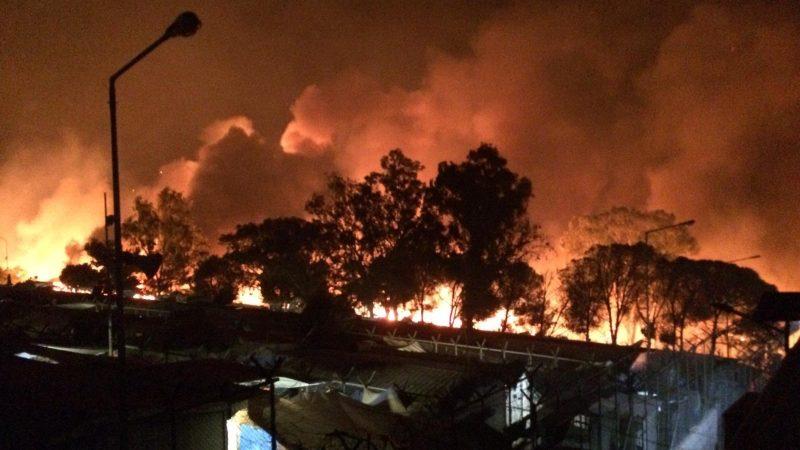 pożar w obozie Moria na wyspie Lesbos