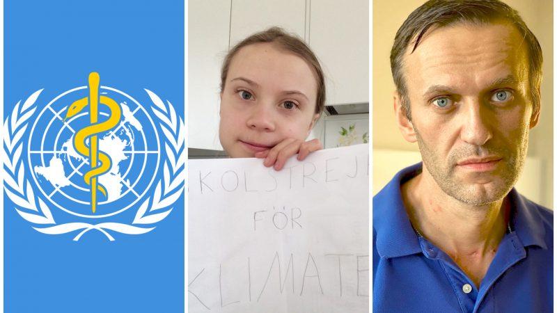 WHO, Greta Thunberg, Aleksiej Nawalny