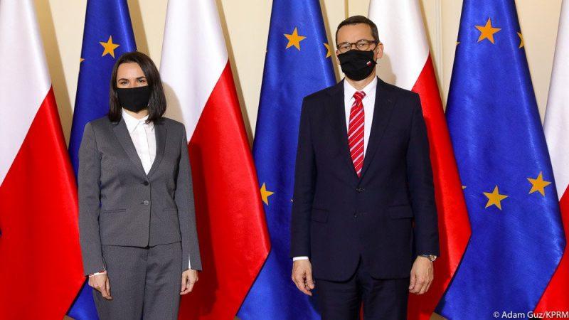 Swiatłana Cichanouska i premier Mateusz Morawiecki