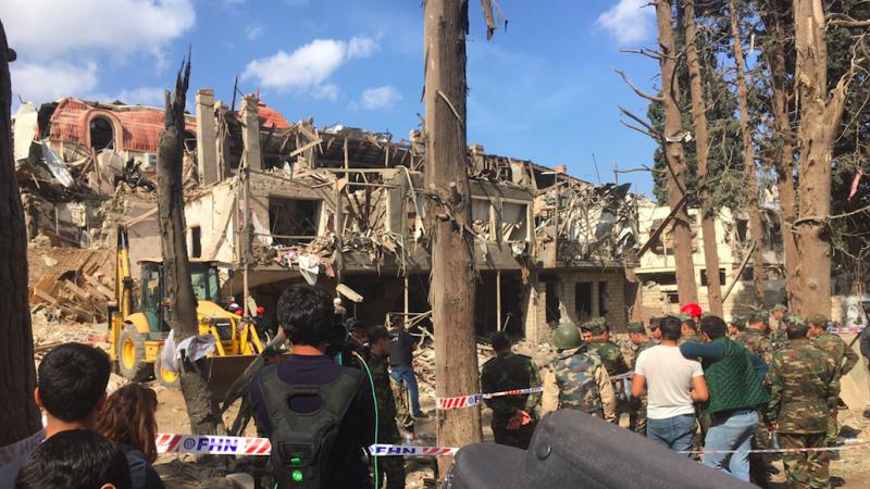 Miejsce ostrzału w Gandży, źródło: Twitter/Andrew Hopkins (@achopkins1)