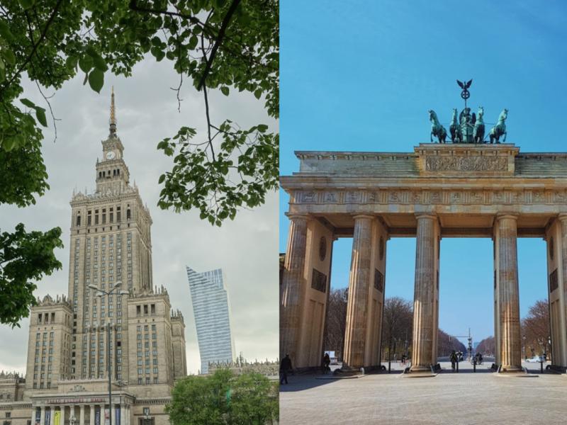Pałac Kultury i Nauki w Warszawie fot. Zosia Korcz [Unsplash]; Brama Brandenburska w Berlinie, fot. Reiseuhu [Unsplash]