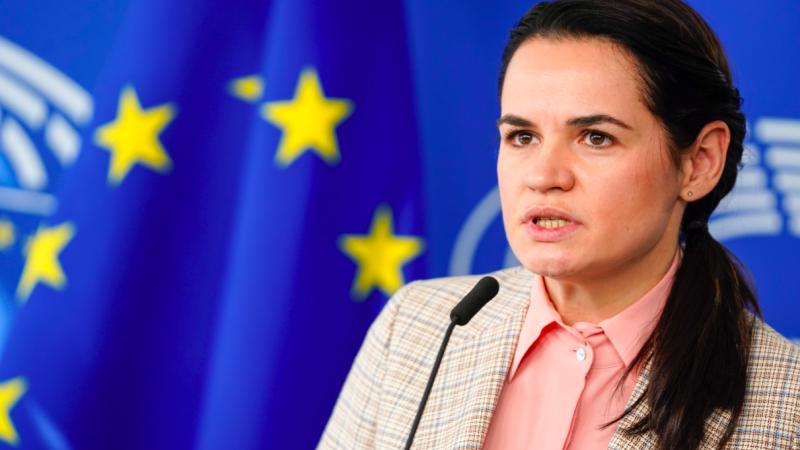 Swiatłana Cichanouska podczas wrześniowej wizyty w Parlamencie Europejskim, źródło: European Parliament