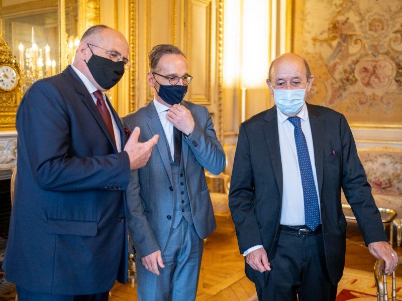 Ministres des Affaires étrangères polonais (Zbigniew Rau), allemand (Heiko Maas) et français (Jean-Yves Le Drian)
