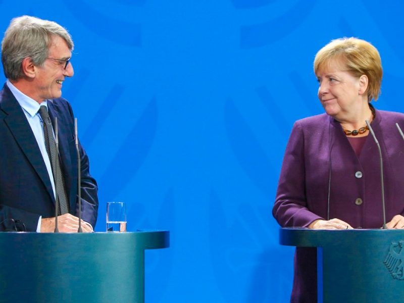 David Sassoli i Angela Merkel