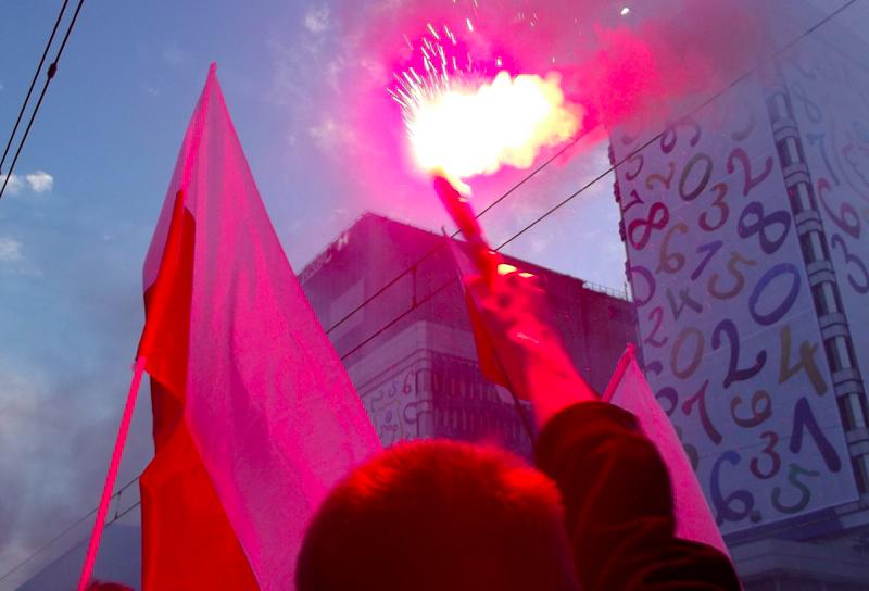 Marsz Niepodległości na Alejach Jerozolimskich w Warszawie, źródło: Flickr, fot. Piotr Drabik (CC BY 2.0)