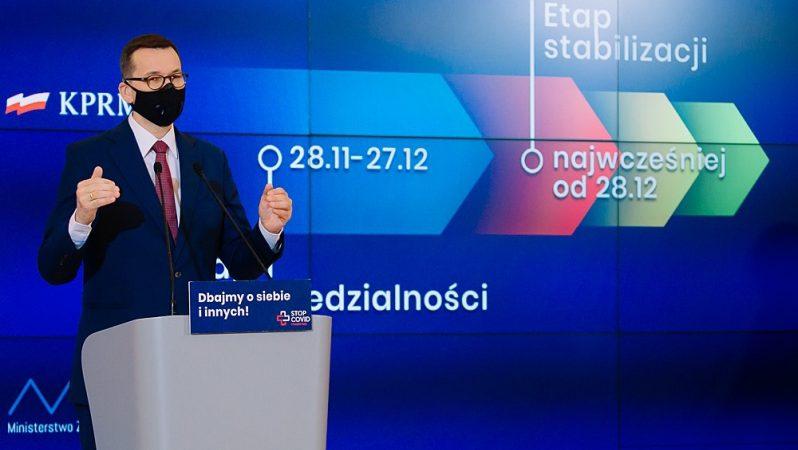 Premier Mateusz Morawiecki przedstawia rządowe plany walki z koronawirusem, źródło: KPRM, fot. Krystian Maj